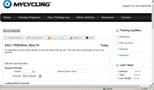Screenshot: Online Training Log, MyCycling.