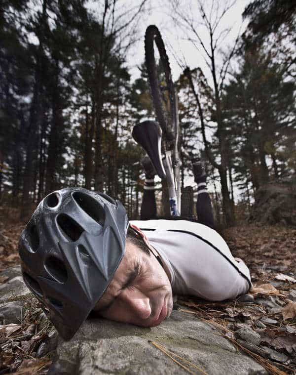 Never crash on your mountain bike or use a helmet